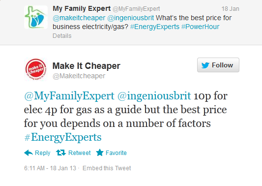 Tweet from My Family Expert