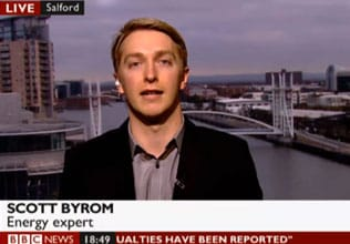 Energy Expert Scott Byrom on the BBC News channel